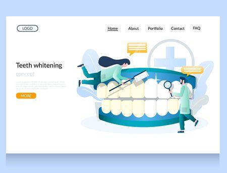 Teeth whitening vector website landing page design template