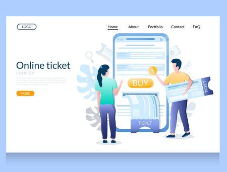 Online ticket vector website landing page design template  イラスト・ベクター素材