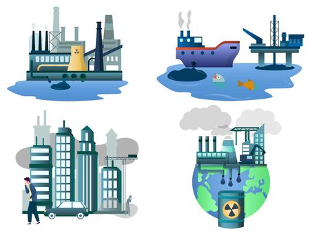 Air and water pollution vector illustration set isolated on white background. Ecology, save environment and planet concept for website page, banner etc.