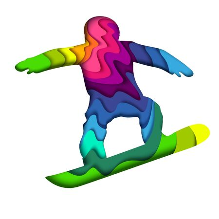 Layered paper cut colorful snowboarder silhouette, vector illustration Banque d'images - 130361900