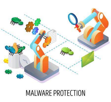 Malware protection, email security vector concept illustration Illusztráció