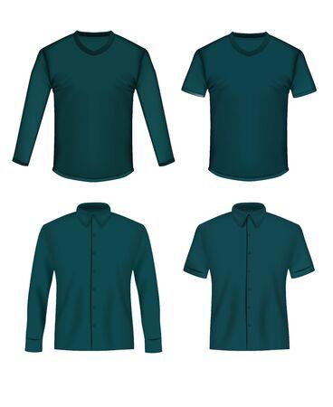 Shirt and t-shirt mockup set, vector illustration