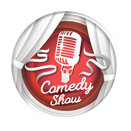 Comedy show, vector illustration in paper art style