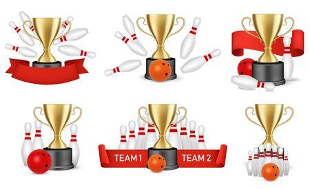 Bowling tournament reward set, vector isolated illustration