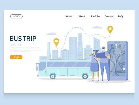 Bus trip vector website landing page design template  イラスト・ベクター素材