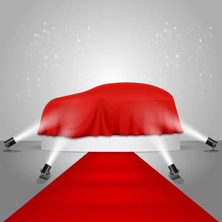 Car show round podium, vector realistic illustration  イラスト・ベクター素材