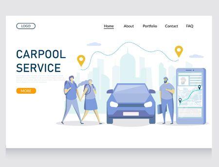 Carpool service vector website landing page design template Foto de archivo - 131386300