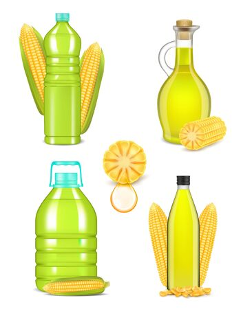 Corn oil bottle bottle set, vector realistic illustration