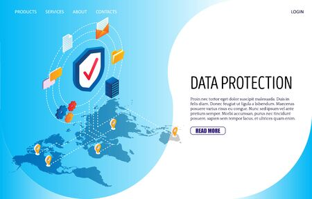 Data protection vector website landing page design template 向量圖像