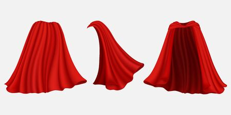 Superhero red silk cloak, vector isolated illustration
