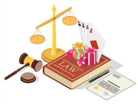 Casino gambling legalization vector concept isometric illustration