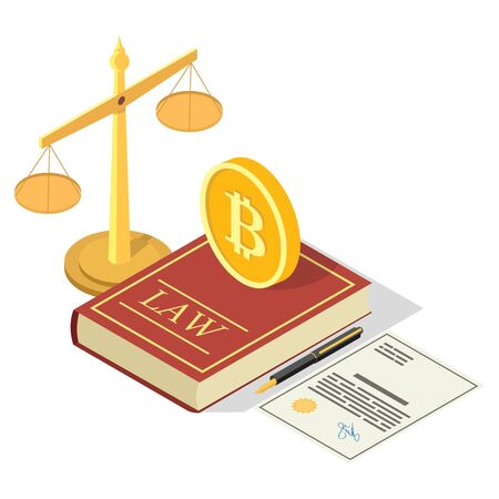 Cryptocurrency legalization vector concept flat isometric illustration