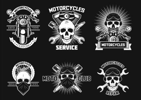 Vintage white moto skull logos, labels, vector isolated illustration