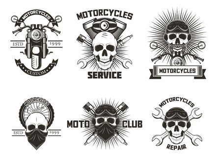 Vintage black moto skull labels, logos vector isolated illustration