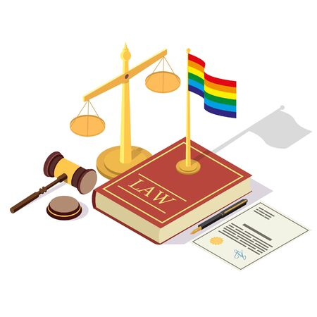LGBT rights legalization vector concept isometric illustration