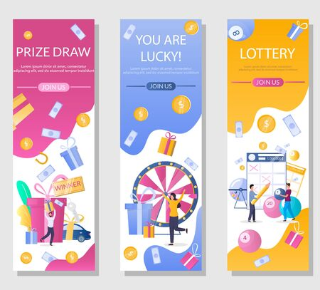 Lottery vector vertical web banner template set