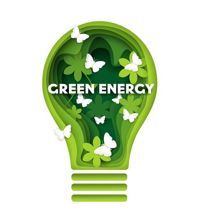 Green energy vector concept illustration in paper art style