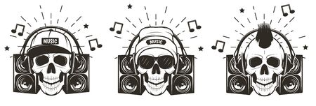 Music skull set, vector hand drawn illustration