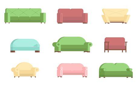 Sofa icon set, vector flat isolated illustration