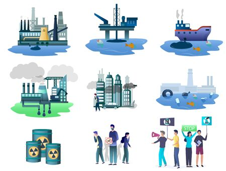 Ecology pollution sources set, vector isolated illustration