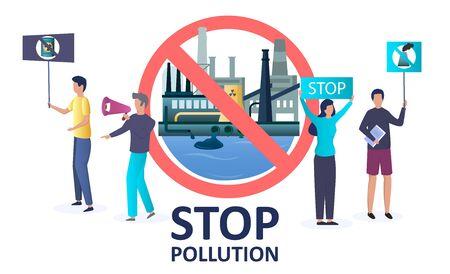 Stop pollution vector concept for web banner, website page Illusztráció