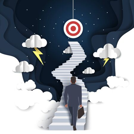 Path to success vector illustration in paper art style