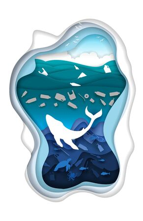Marine pollution, vector illustration in paper art style
