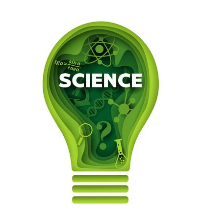 Science vector concept illustration in layered paper art style