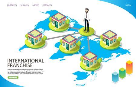 International franchise vector website landing page design template Illusztráció