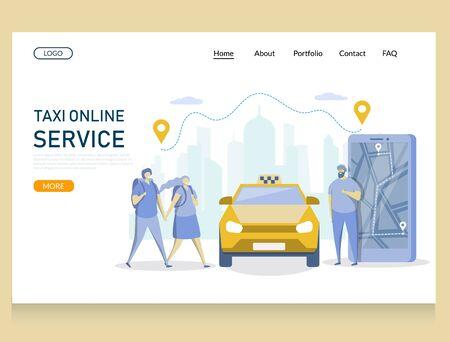 Taxi online service vector website landing page design template