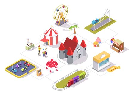 Amusement park vector flat isometric flowchart with carousel castle ferris wheel circus tent shooting range bumper cars train ride roller coaster areas, cotton candy and hot dog carts, ticket office.