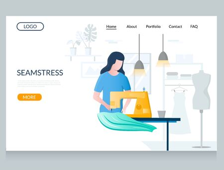 Seamstress vector website landing page design template Ilustracja
