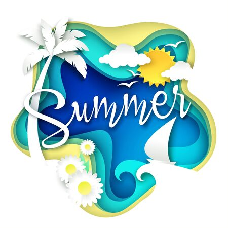 Summer layered paper art style vector illustration Banque d'images - 133060885