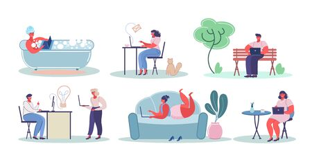 People using laptop computers, vector flat isolated illustration Ilustrace
