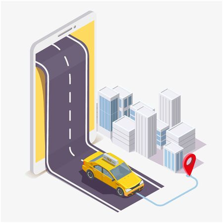 Taxi service mobile application, vector flat isometric illustration