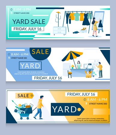 Yard sale vector web banner template set