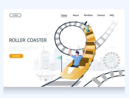 Roller coaster vector website landing page design template