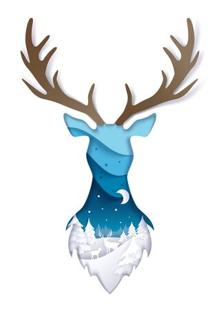 Double exposure vector layered paper cut wild deer head silhouette with winter night forest landscape inside. Winter trendy composition for greeting card, poster, banner, website page etc.