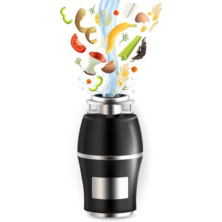 Food waste disposer for home kitchen sink with slices of fruits, vegetables and other kitchen scraps falling into it with water, vector realistic illustration isolated on white background.
