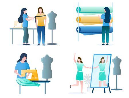 Seamstress, dressmaker, fashion designer female cartoon character set, vector illustration isolated on white background. Clothing industry, atelier, tailoring shop, fashion salon. Illustration