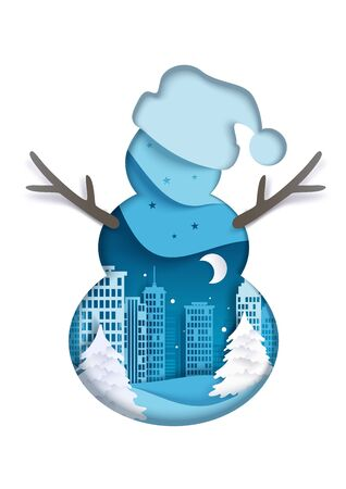 Double exposure vector layered paper cut snowman silhouette with winter night city scenery inside. Winter trendy composition for greeting card, poster, banner, website page etc. 向量圖像