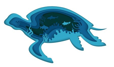 Double exposure vector layered paper cut large turtle silhouette and underwater sea cave with coral reef, fish. Beautiful trendy marine composition for card, poster, banner, website page etc.