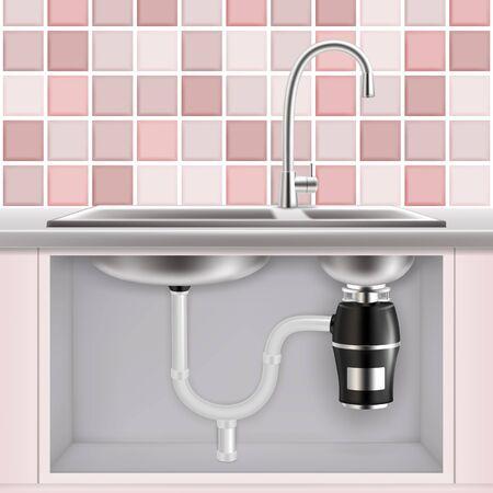 Triturador de desperdicios de comida debajo del fregadero de la cocina, vector ilustración realista