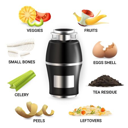 Food waste disposer and kitchen scraps, vector isolated illustration Illustration