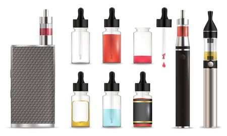 Vape and e-liquid bottle icon set, vector isolated illustration