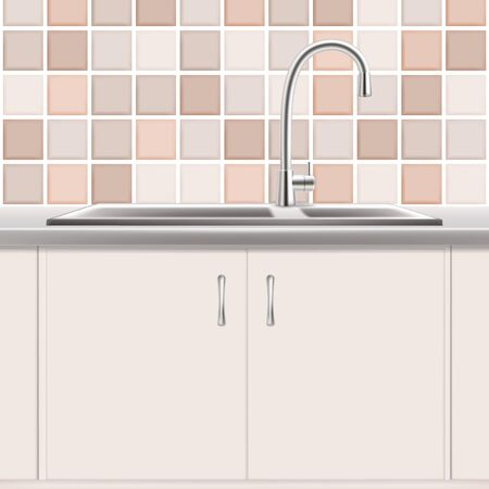 Kitchen sink, vector realistic illustration. Stainless double bowl plumbing product. Kitchen interior.