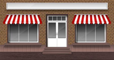 Fachada de cafetería, panadería o tienda con puerta de entrada y ventanas de vidrio con toldos rayados, ilustración vectorial. Exterior de la tienda de la calle pequeña, escaparate de ladrillo.