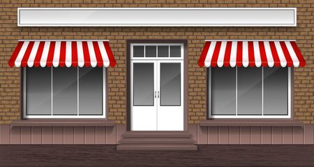 Cafe, bakery or shop facade with entrance door and glass windows with striped awnings, vector illustration. Small street shop exterior, brick storefront.