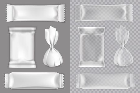 Candy packaging mockup set, vector isolated illustration. Realistic white and transparent blank plastic foil food snack pack for candy, chocolate bar etc.