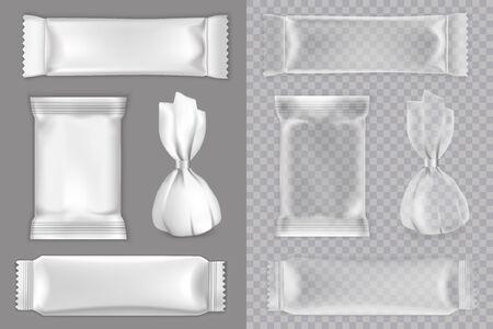 Ensemble de maquette d'emballage de bonbons, illustration vectorielle isolée. Paquet de collations réalistes en feuille de plastique vierge blanche et transparente pour bonbons, barre de chocolat, etc. Vecteurs